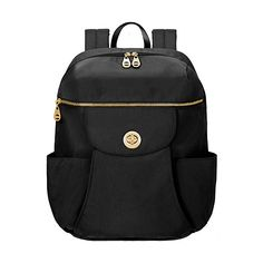 baggallini Gold Capetown Backpack Laptop Backpack ($106) ❤ liked on Polyvore featuring bags, backpacks, black, laptop backpacks, lightweight daypack, black laptop backpack, coin purse, light weight backpack and laptop rucksack