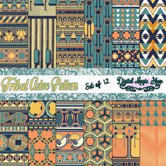 12 Tribal Aztec Retro Paper pack Ikat, geometric pattern, native Indian, Navajo, Aztec, arrows, Personal and Small Commercial use by DigitalMagicShop, $2.50