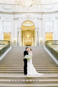 Romantic Elopement in Historic, Extravagant City Hall of San Fransisco. #fineartweddingsinspiration #fineartweddingsphotography #brideandgroomphotography #weddingphotographyinspiration
