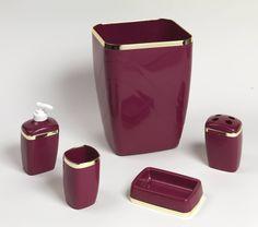 Pics Of Royal Bath Piece Plastic Bath Accessory Set Burgundy Gold