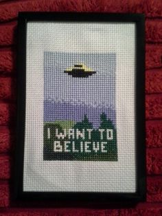 X Files I Want to Believe Poster Cross Stitch by dragonwings131.deviantart.com on @deviantART