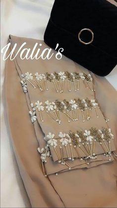 Hand Embroidery Dress, Bead Embroidery Patterns, Embroidery Suits, Beaded Embroidery, Embroidery Designs, Saree Blouse Designs, Salwar Designs, Salwar Pants, Modele Hijab
