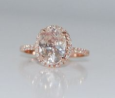 3.04ct Oval champagne peach sapphire diamond ring 14k rose gold engagement ring   Linked Gemstones