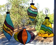 Stained Glass Christmas Ornaments by PixieDustGlassStudio on Etsy