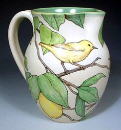 Nan Hamilton 2006 ~ Yellow Warbler Lemonade Pitcher click the image for more details. Ceramic Pitcher, Ceramic Cups, Ceramic Pottery, Pottery Art, Ceramic Art, Hand Painted Pottery, Pottery Painting, Ceramic Painting, Flock Of Crows