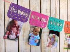 Papel Picado First Year Monthly Photo Banner Birthday Photo Banner, First Birthday Banners, Baby Boy 1st Birthday, First Birthday Photos, Llama Birthday, Mexican Birthday Parties, First Birthday Parties, First Birthdays, Carnival Birthday