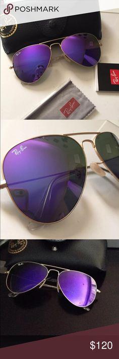 7333c0ce602b69 NWT Rayban rb3026 purple flash mirror aviators 100% guaranteed Authentic ..  Never worn or