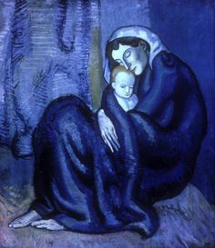 Blue - azul - painting - Mother and Child, 1902 by Pablo Picasso
