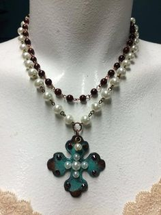 Rustic Metal Cross Double Strand Necklace by Ataggirl and available at Buckaroo Bay Cowgirl Jewelry & Western Accessories