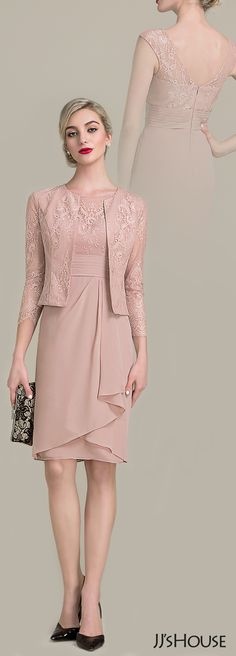 A peek of lace on the straps of this knee-length chiffon mother of the bride dress hints at the illusion V-shaped lace back. All at JJ's House! Mob Dresses, Short Dresses, Formal Dresses, Modest Fashion, Fashion Dresses, Pink Dress, Lace Dress, Church Outfits, Groom Dress