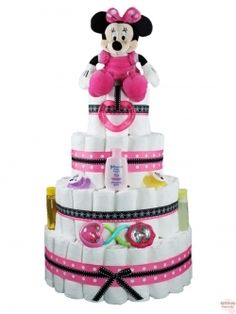 Diaper Cakes & Baby Shower Gifts  Minnie Mouse With Teething ring a rattle 2 pacifiers and some bath lotion. Is made with 96 size 1 diapers. Cost $70.00 plus shipping