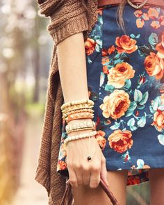 floral + chunky sweater = perfect combo
