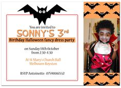 Hello Halloween! 10 Pack £4.50 with free delivery for a limited time only!   http://honeyapple.co.uk/10-batty-halloween-party-invites.html