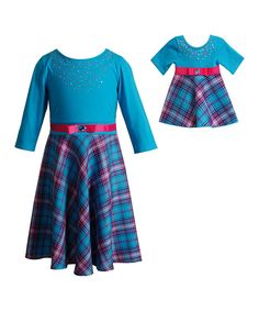 Look at this Turquoise Plaid Ponte Dress & Doll Outfit - Girls on #zulily today!