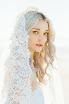 Romantic Beach Bridal Session by Stephanie Sunderland. New York City Fine Art Wedding Photography. Cathedral Veil.