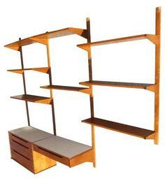 Vintage Mid Century Modern Wall Unit Bookcase Desk