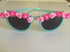 Floral Sunglasses Blue Retro Sunglasses with by FestivalOutfitter
