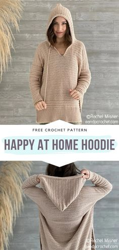 How to Crochet Happy At Home Hoodie - - If you want to crochet your perfect homewear set for the lockdown, start with one of these Comfortable Hooded Cardigans. Actually, why don't you crochet. Cardigan Au Crochet, Crochet Hoodie, Crochet Shawl, Crochet Stitches, Knit Crochet, Crochet Sweaters, Crochet Tops, Crochet Jumpers, Patron Crochet