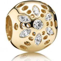 Pandora 14ct Gold Sparkling Bloom Charm 750826CZ