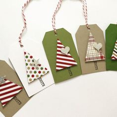 Cute handmade Christmas gift tags to brighten up your gifts!  Details: - includes 10 tags - Made with premium card stock - Trees are popped up with dimensional foam - Tags are hand stamped and measure approximately 2 by 3 tied with twine.    All orders are mailed by first class mail which takes about 3-5 business days from the day I ship to arrive at your door. You have the option to upgrade to priority mail (2-3 business days) by adding this listing below to your order…