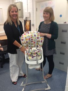 Handing a highchair to Helen Spibey, a health visitor at Fenton Childrens Centre, collecting for a family with a child who has Gastro-oesophageal reflux disease (GORD) and an intolerance to cows milk. The high chair lowered the risk of choking and helped with his development, fantastic news I think you will agree!