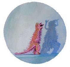 "Megan Marlatt ""Portrait of a Ferocious, Pink Monster"", 2008 Acrylic on round paper, 20′ x 20″ framed"
