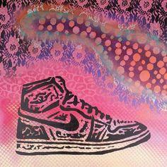 Nike Jordan Hi-Top Shoes Graffitti Street Art Stencil 24x24 Canvas on Etsy, $75.00