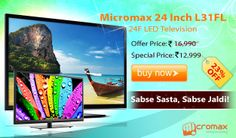 Micromax 24 Inch L31FL 24F LED Television has unique Audio Visual Entertainment Architecture of works to enhance both the videos and images delivered on the screen and the audio output to ensure a more wholesome Audio-Video experience. The result is real life like images and home theatre like sound experience which is unmatched in this category. Also you enjoy a unique picture quality in 24 inch HD ready screen. Make everything look like eye catching on its brilliant resolution display.
