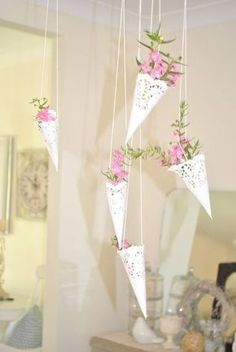 Peaches & Maple: Paper doily hanging baskets - would be cute with lavender hanging off the chairs: