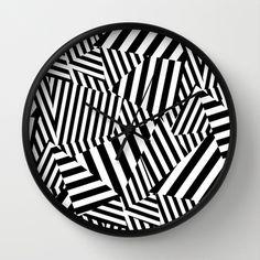 Vertigo Clock available via Society6 http://society6.com/product/vertigo-y9b_wall-clock stripe, razzel dazzle, black & white