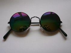 Retro Sunglasses Style Mirror Glasses 70s Design Round Hippie Goa Rainbow Colour