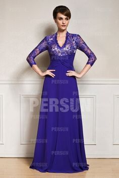 Split front V neck Mother of the bride Dress with sleeve 0cf2175251c7