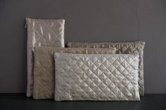 Quilted Zipper Pouches in Mineral Linen | Purl Soho - Create