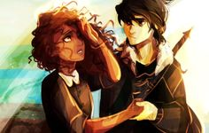 Nico di Angelo & Hazel, children of Hades/Pluto. I love their relationship, so sweet. though my heart broke when he accidentally called her Bianca in Son of Neptune ... OOH I WAS SO MAD at nico when percy couldn't remember anything and nico acted like he didn't know him! >:(