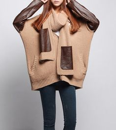 Image of Brown sweater dress Knitwear large knitted sweater long women sweater plus size sweater M7