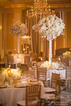 Anna and Spencer Photography , Atlanta wedding photographers . St. Regis Hotel Buckhead wedding reception . White phalaenopsis orchid centerpiece .