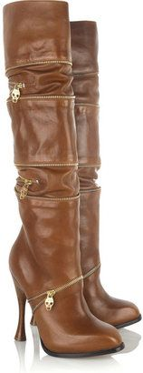 Alexander McQueen Multi-zip leather boots...the colour, the zippers, the heel!