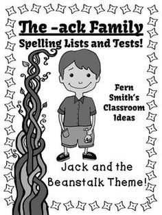 Spelling The -ack Family Word Work Lists & Tests #TPT $Paid #TeachersFollowTeachers #FernSmithsClassroomIdeas