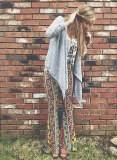 Border Print Bell Bottoms styled by fpjsmith on FP Me