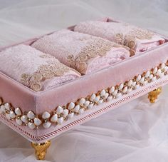 Pink Velvet Box Holding Lace Trimmed Face Cloths