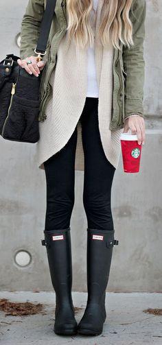#winter #fashion / olive green jacket + cream knit
