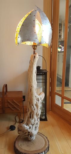 Driftwood and recycled aluminium lamp