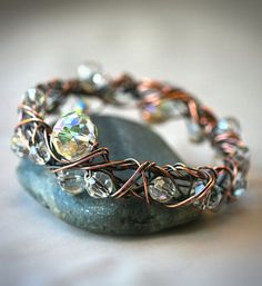 Copper and Crystal Free Form Wire Wrapped Bangle by Mayahelena