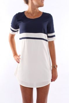 Navy + White Dress