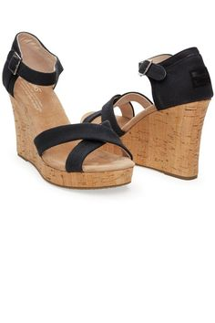 d97a0c3a73e Look at this TOMS Black Canvas   Cork Strappy Wedge on today! Mainland Skate    Surf · Women s Footwear