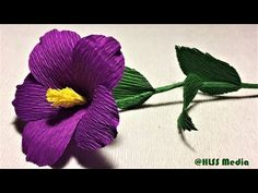 How to make beautiful purple nierembergia paper flower|diy easy origami crepe paper flower making - YouTube