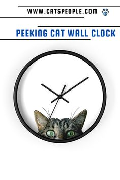 The cat is watching you! This peeking cat wall clock is what every cat lover needs in their home. Add a feline touch to your space with this high quality wall clock, a statement piece that will make your environement more fun and personal. For the office or the living room, cat moms and cat dads alike will adore this special design. A great house warming gift for that cat obsessed person in your life! #catownergift #catclock #catmomclock #peekingcatclock #catwallclock #catlovergift #catmomgift Cat Lover Gifts, Cat Lovers, Cat Clock, Cat Dad, Cat Design, Spice Things Up, House Warming, Dads, Throw Pillows