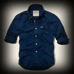 ホリスター メンズ シャツ Hollister First Point Shirt シャツ ★左胸のポケットにはホリスターを代表するカモメが刺繍されています! ★袖をロールアップしてルーズぽく・・・?組合せにより色んな個性的な着こなしができてお洒落!
