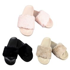 Fashion Womens Slip On Flat  Rubber Slider Mules Fur Slipper Girls Sandals Shoes #Unbranded #FlipFlops #Casual