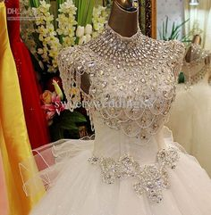 Wholesale Bling Bling Crystals luxury High Collar Beads Sequins Sweep train Ball Gown Lace-up Wedding Dresses, $224.0-246.4/Piece | DHgate#s3-20-1